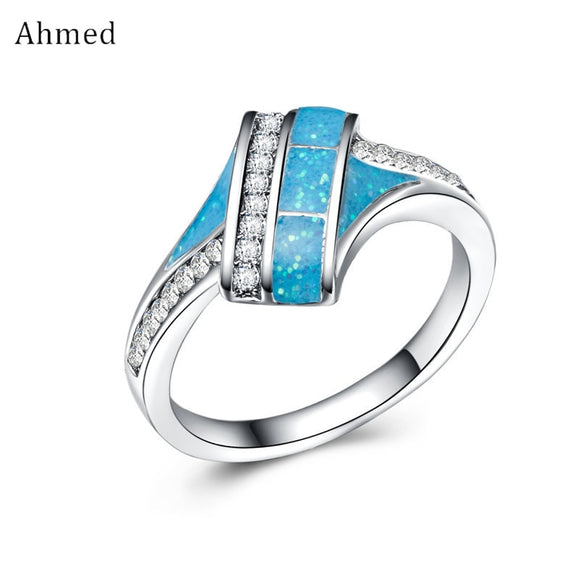 Ahmed New Charm Geometry Beach Ocean White Blue Fire Opal Ring Wedding Bands Fashion Jewelry Silver Filled Rings for Women