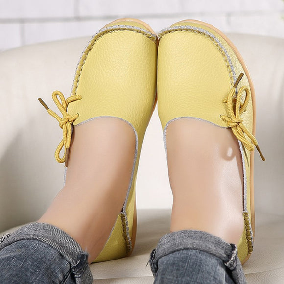 women flats 2018 Summer women slipony genuine leather shoes slip on ballet bowtie moccasins ballet flats woman shoes 24 colors