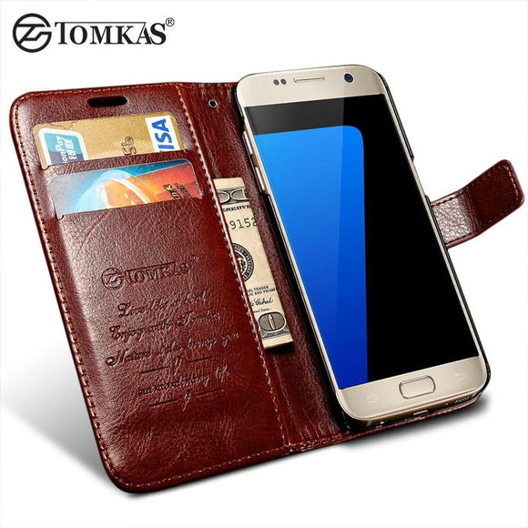 Flip Leather Case For Samsung Galaxy S7 G9300 Wallet Phone Cover For Samsung Galaxy S7 Edge Cases With Card Holders TOMKAS