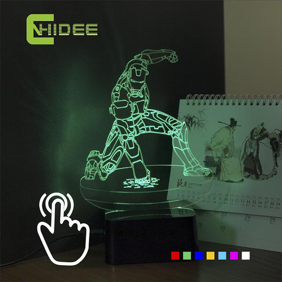 USB Novelty for iron Man Seven Colors LED RGB Desk Table Touch Lamp Led Night Light for Children's Bedroom Besides Nightlight