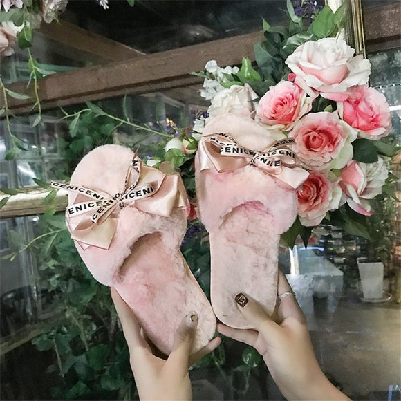 COOTELILI  Women Plush Home Slippers with Faux Fur  Warm Shoes Woman Slip on Flats Cute Bowtie Female Slides Plus Size 41