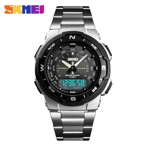SKMEI Men Watch Fashion Quartz Sports Watches Stainless Steel Mens Watches Top Brand Luxury Business Waterproof Wrist Watch Men