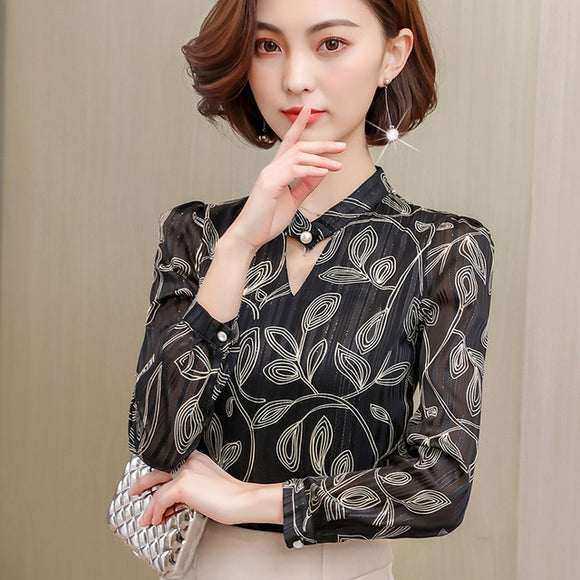 2018 print chiffon blouse women shirt long sleeve plus size office lady shirt women tops stripe women's clothing blusas 0092 40