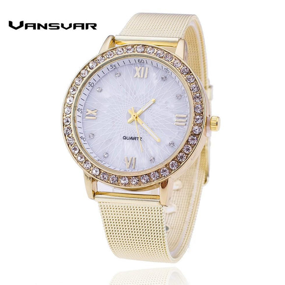 Vansvar Lxury Gold Watch Women Rhinestone Watch Ladies Fashion Dress Quartz Watch Reloj Mujer Relogio Feminino Gift 1322