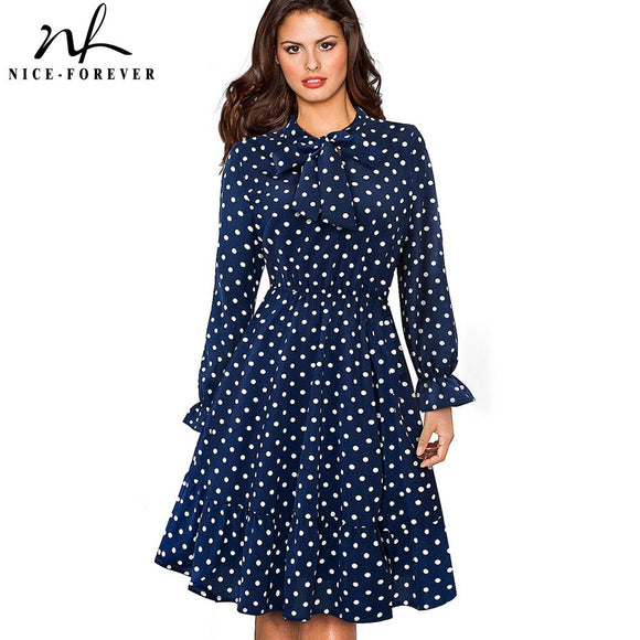 Nice-forever Elegant Vintage Polka Dots Pinup Bow vestidos Business Party Female Flare A-Line Swing Women Dress A130