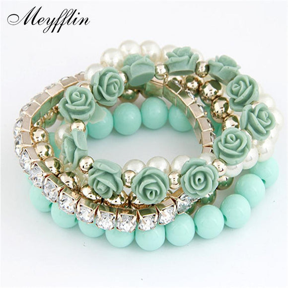 Charm Bracelets For Women Jewelry Rose Flower Multi-layer Wrap Flower Bracelets & Bangles Vintage