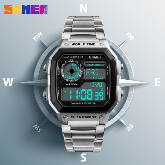 SKMEI Compass Digital Sports Watches Pedometer Mens Watches Top Brand Luxury Countdown Calories Waterproof Wrist Watch Clock Men