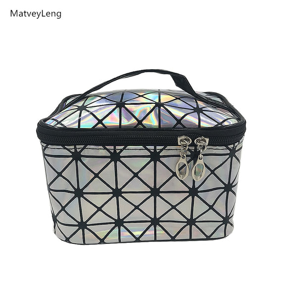 New Ladies Multifunctional Cosmetic Bag Flash Diamond Leather Organizer Cosmetic Storage Bag Multi-color Optional Free Shipping