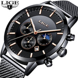 LIGE Men Watches Luxury Brand Multi Function Mens Sport Quartz Watch Man Waterproof Mesh belt Business Clock Male Wrist Watch