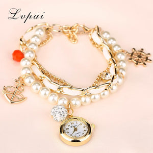 Lvpai Fashion Dress Watches Women Pearl Strap Anchors Design Women Watch Wristwatch Ladies Watch Clock Bracelet Gift Watch