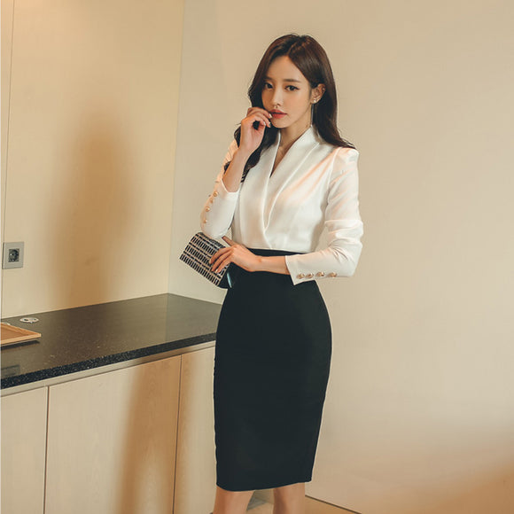 OL Style V-neck Patchwork Women Dress Autumn Full Sleeve Work Business Female Vestidos femme Elegant Hip Package Sexy Dress 2018
