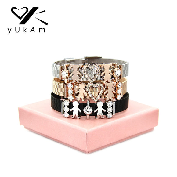 YUKAM Jewelry Crystal Heart Silver Little Girls Boys Family Mom Mesh Bracelets Friendship Sister Couple Bracelets for Women Gift