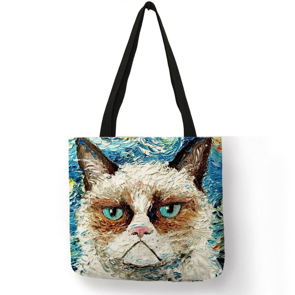 Customize Creative Kitty Cat Tote Bags for Women Linen Bag Wish Print for Lady Shopping Bags Traveling Tote Pouch