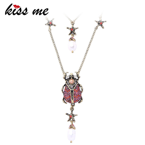 KISS ME Women Necklace Antique Gold Color Alloy Rhinestone Cultured Pearl Beetle Pendant Necklace Long Layered Necklace Jewelry