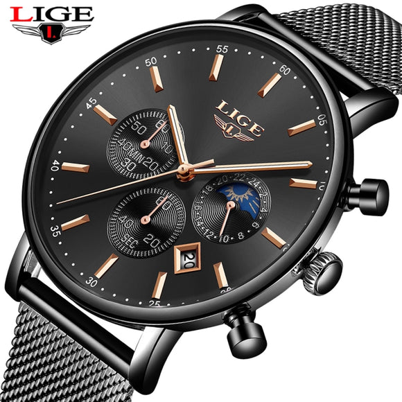 LIGE New Top Brand Fashion Luxury Gold Mesh Band Creative WristWatch Casual Women Watch Quartz Clock Gift Gold Watch Men Relogio