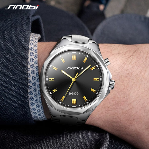 SINOBI Men Wrist Watches Back Light Steel Watchband Top Brand Luxury Male Geneva Quartz Clock Hours Men Watch relogio masculino