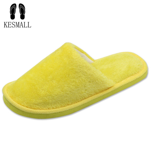 KESMALL Candy color Warm Home Slippers Women Bedroom Winter Slippers  Indoor Slippers Cotton Floor Slippers drop shipping WS304
