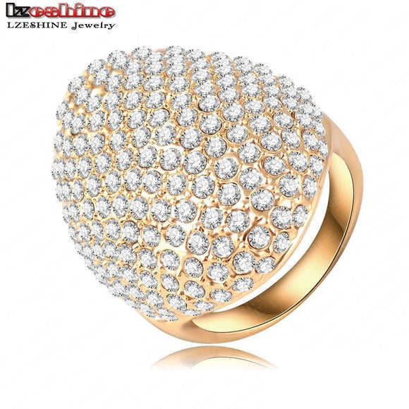 LZESHINE Custom Rings For Women Gold Plate Pave Full Rhinestone Austrian Crystals SWA Elements Party Ring Jewelry