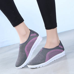 Breathable Women's Shoes Mesh Flat With Cotton Ankle Shoes Casual Walking Stripe Sneakers Loafers Soft Shoes Female Footwear