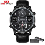 Top Brand Digital Men's Watch Men Chronograph Analog Quartz Business Watch 50m Waterproof Silicone Leather Strap Wristwatch