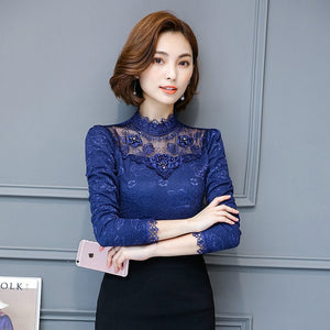 Lace Blouse Women Sexy Hollow Out Embroidery Long Sleeve Fashion Shirt Female Tops Office Lady Casual Beading Blouses Clothing