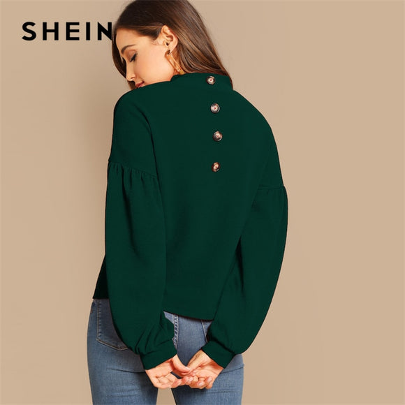 SHEIN Green Lantern Sleeve Bishop Sleeve Stand Collar Button Detail Back Top 2019 Spring Women Streetwear Tops And Blouses