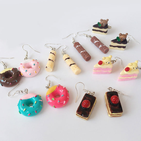 Candy Color Melaleuca cake Food Lovely Drop Earrings Donuts Valentines Gift 1Pair Cake Cute Fashion Jewelry Handmade Cartoon