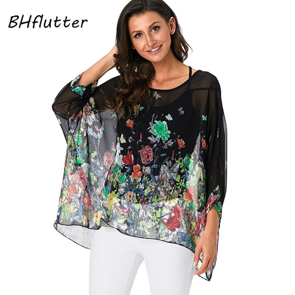 BHflutter Womens Tops and Blouses Harajuku Floral Print Chiffon Shirts Batwing Sleeve Casual Loose Summer Blouse Tunic Plus Size