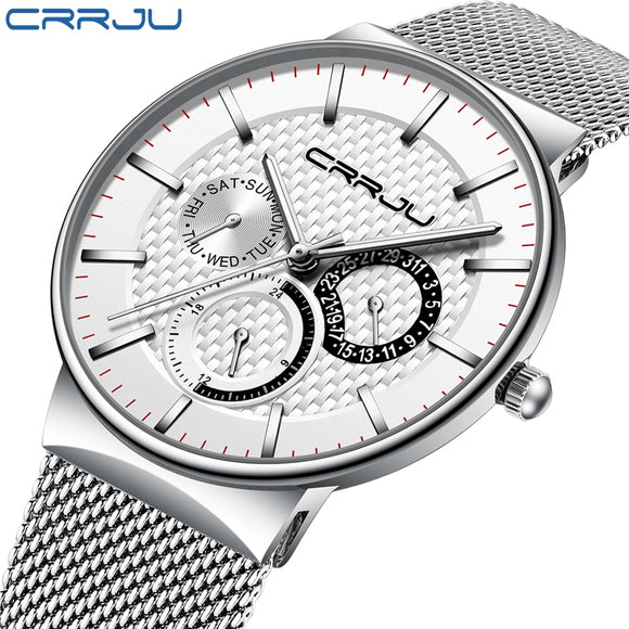 Mens Watches CRRJU Top Brand Luxury Waterproof Ultra Thin Date Clock Male Steel Strap Casual Quartz Watch White Sport WristWatch