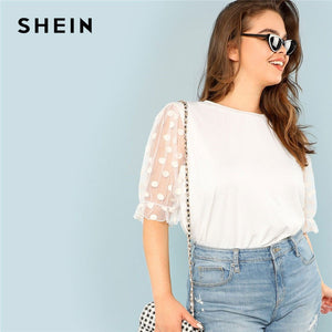 SHEIN Plus Size White Polka Dot Flounce Sheer Mesh Sleeve Women T Shirt Summer Weekend Casual Round Collar Fit Top Tees