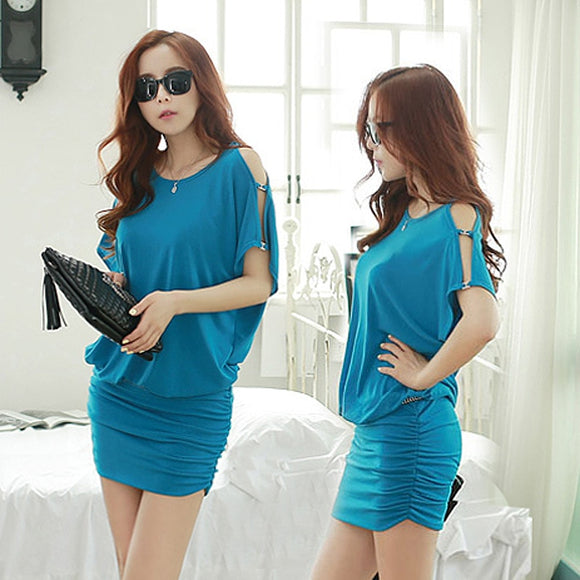 2019 Summer New Korean Version Of The Large Size Women's Fat Mm Dress Bat Shirt Loose Bag Hip Dress
