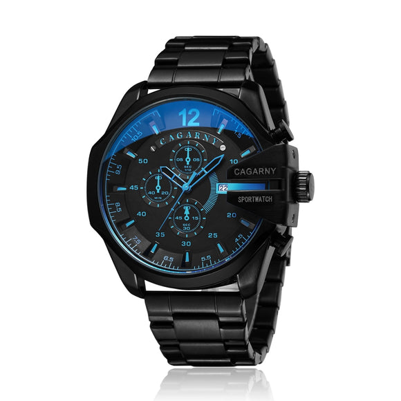 Cagarny Mens Quartz Wrist Watch Luxury Sport Wristwatch Waterproof Black Stainless Male Watches Clock Military Relogio Masculino
