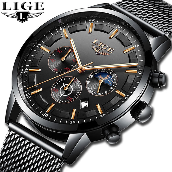 LIGE New Men Stainless Steel Mesh Quartz Watch Waterproof Watch Multi-function Chronograph Date Display Wristwatch Black Relogio