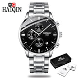 Men's Watches HAIQIN New Top Brand Luxury Military Quartz Men Stainless Steel Wrist Watch Fashion Chronograph Relogio Masculino