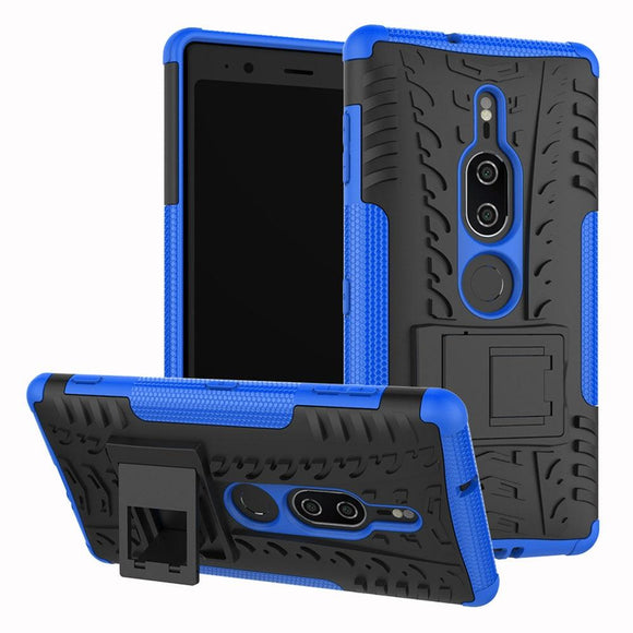 2in1 Tire Pattern Hybrid Rugged Case With Back Kickstand Anti Shock Impact Protective Hard Cover For Sony Xperia XZ2 Premium