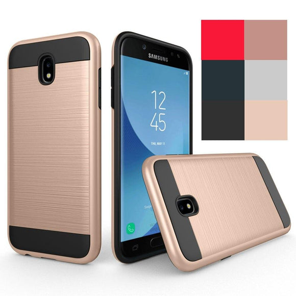 For Samsung Galaxy J3 2018/J3 Eclipse 2/J3 Achieve/Star/orbit/Amp Prime 3/Sol 3/J3 V 3rd Gen Case 2in1 Brushed Armor Back Cover