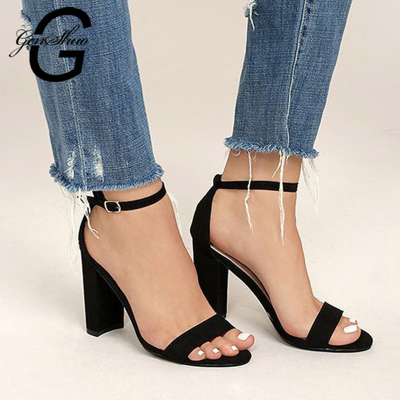 GENSHUO 2019 Ankle Strap Heels Women Sandals Summer Shoes Women Open Toe Chunky High Heels Party Dress Sandals Big Size 42
