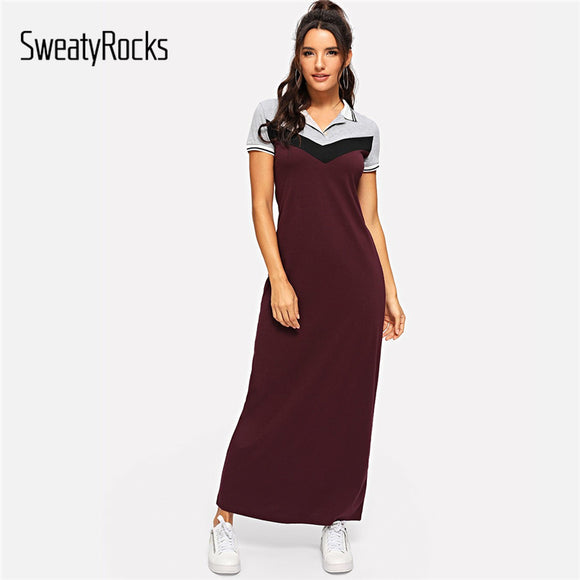 SweatyRocks Color Block Longline Polo Dress Streetwear Women Short Sleeve Casual Clothes 2019 Summer Burgundy Maxi Shirt Dresses