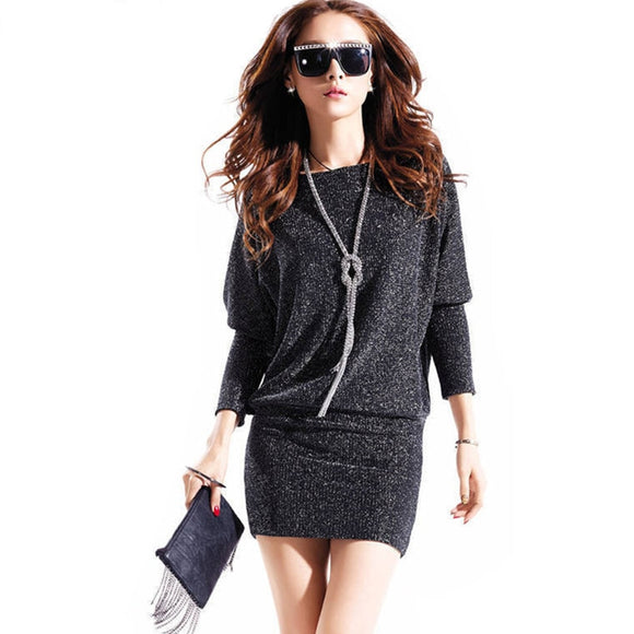 spring dress 2019 women dress casual active sexy dress wild slim Elegant long sleeve Plus size Batwing sleeve Sequins