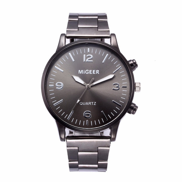 MIGEER Fashion Men Crystal Stainless Steel Watch 1PC Digital scale blue black silver dial Analog Quartz Wrist Watch Bracelet a80