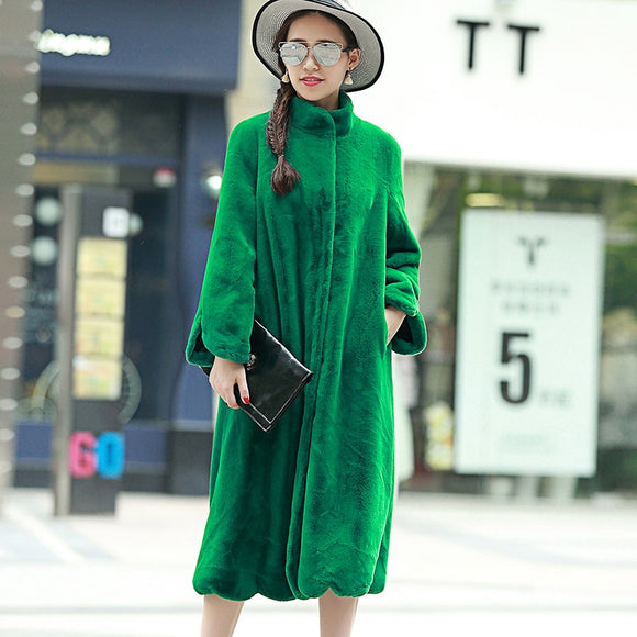 Nerazzurri Long Faux Fur Coat Women 2019 Winter Solid Color Long Sleeve Stand Collar Loose Green Outerwear Plus Size 5XL 6XL 7XL