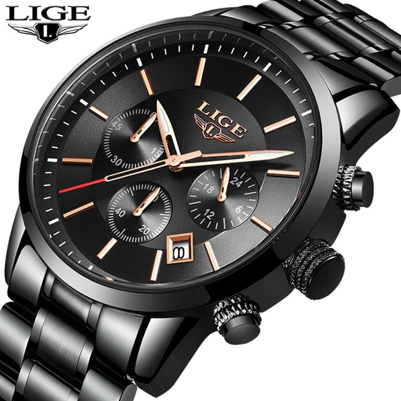 LIGE sport Watch Analog Quartz Watches Men Top Brand Luxury Mens Watches Stainless Steel Waterproof Wristwatch Relogio Masculino