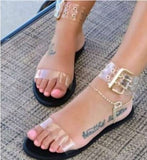 Large Size Sandals Women Clear Jelly Shoes Gladiator Buckle Strap Flats Sandals Transparent Shoes Ladies Roman Chaussures Femme