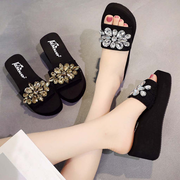 2019 Women's Slippers Summer Beach Casual Shoes Girls Crystal Wedges Slipper Fashion Loafers Platform mujer slides women's slate