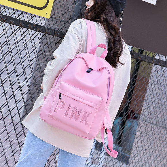 Quality Women Leather Backpack Pink Letter Bolsas Mochila Feminina Large Girl Schoolbag Travel Bag School Backpack Black Bagpack