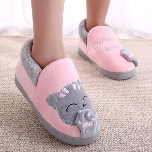 NOOLIM Winter Cartoon Lucky Cat Women Slippers Non-slip Home Shoes Men Indoor Floor Bedroom Lovers Couple Warm Plush Shoes