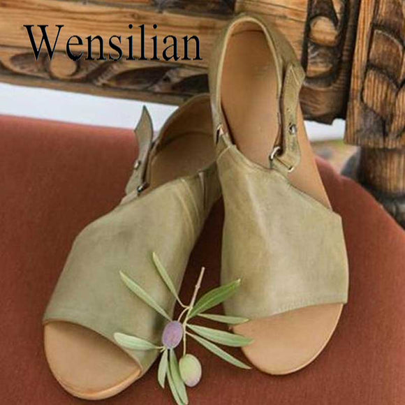 Summer Sandals Women Beach Shoes PU Leather Flats Buckle Strap Sandales Femme Ladies Sandals Open Toe Sandalias Mujer 2019