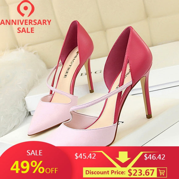 New Color Matching shoes Women Heels Leather Summer Fashion Sweet High Shoes Hollow Pointed Thin High-Heeled Shoe Pumps Womens