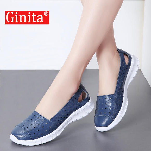Ginita Summer Flat Shoes Women Plus Size 42 Genuine Leather Sneakers Hollow Hole Ladies Flats Boat Shoes Woman zapatillas mujer