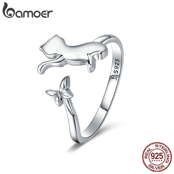 BAMOER Authentic 925 Sterling Silver Butterfly Tail Cat Adjustable Finger Rings for Women Sterling Silver Ring Jewelry SCR443